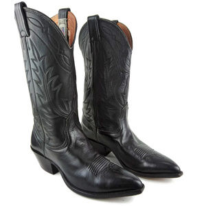 NOCONA Black Leather Pointed Toe Cowboy Boots